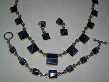 Taxco Mexico Sterling Onyx Lapis Lazuli Necklace Bracelet Earrings Heavy Set