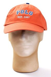 Polo Ralph Lauren Orange Adjustable Baseball Cap Youth Boy's M/L  NEW