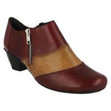 Zip Block Heel Leather Sandals & Flip Flops for Women