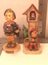 Goebel Figurines Lot of 2 Boy/Home From Market & Girl praying church tower