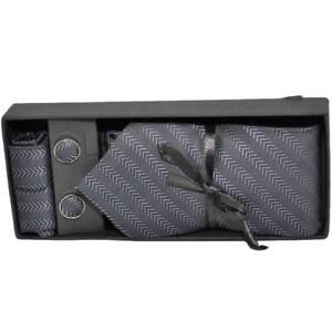 Set cravatta pochette e gemelli in coltone nero zigrinato confezione regalo per