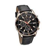 Sekonda Gent's Nightfall Rose Gold Black Leather Strap Watch 1051 *RRP £89.99*