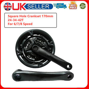 170mm Mountain MTB Bicycle CHAINSET 24-34-42T Triple Crank set for 6/7/8 Speed