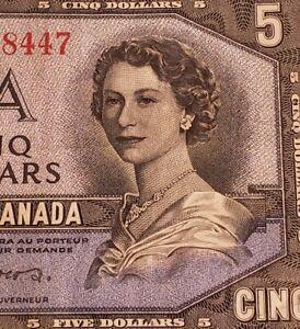 1954 Canada $5. DEVIL FACE Banknote. RARE Prefix C/C. Coyne & Towers Signed.