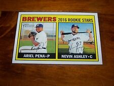 MILWAUKEE BREWERS ARIEL PENA AND NEVIN ASHLEY 2016 TOPPS HERITAGE ROOKIES #170