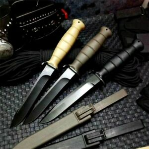 Drop Point Knife Fixed Blade Hunting Wild Combat Tactical Survival PP Handle Cut