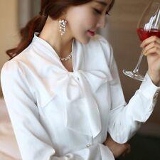 Women Lady Faux Satin Silk Bow Shirts Chiffon Basic Long Sleeve Tops Blouse Soft