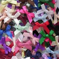 50pcs Silk Satin Ribbon Bows 7mm Bowknot Appliques Scrapbooking Craft DIY Gift