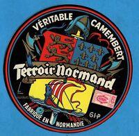 Tres belle étiquette de Camembert ancienne et de collection Terroir Normand