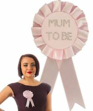 Baby Shower Girl PINK Mum to Be ROSETTE Diamante Badge Gift present Accessory