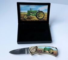 New listing John Deere A Tractor Collector Display Knife With Photo of Tractor On Handle