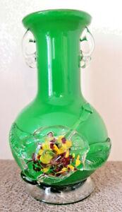 Antique Vase Green Glass Blown Interior Opal White Embellished Flower Glass