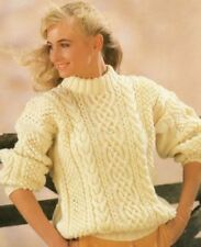56b16ac00 Knitting Pattern Lady s Fab Aran Cable Sweater 80-110 cm ...