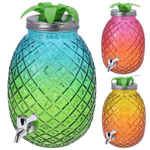 Getränkespender mit Zapfhahn ca. 4,5 Liter Wasserspender Saftspender Glas Ananas