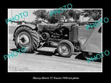 OLD LARGE HISTORIC PHOTO OF MASSEY HARRIS 55 RT TRACTOR 1948 TEST PHOTO 2