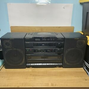 Sony CFD-460 AM/FM CD Dual Casst BOOMBOX Stereo w Detach Speakers Vintage Tesyed