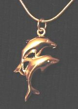 Double Dolphins Pendant & 925 Silver Snake Chain Necklace