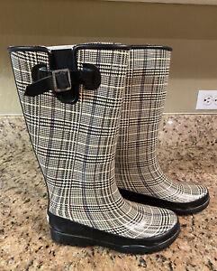 Sperry Top-Sider Women's Rain Tall Boots Plaid Fleece Lining Size 6 Waterproof