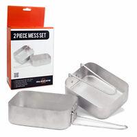 2 Piece Mess Tin Set Aluminium Folding Lightweight Camping Hiking Army Fishing