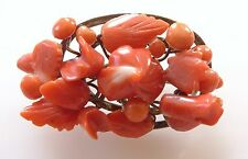 Vintage Hand Carved Natural Salmon Red Coral Flower Rose Bouquet Brooch Pin