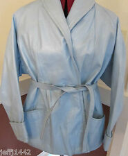 Vintage Mid Modernism metallic light blue Horsehide belted jacket - Women's 14