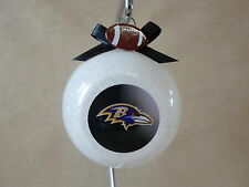 """Unique Handmade NFL Baltimore Ravens  3"""" Glass Ball Ornament~Made In The USA~NEW"""