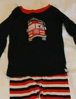babyGap Red Fire Truck Navy (2 Years) Long Sleeve Striped Pants 2 Piece Pajamas