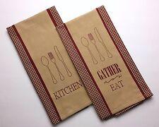 Set of 2 KITCHEN & GATHER EAT Barn Red & Nutmeg-Tan Check Cotton Kitchen Towels
