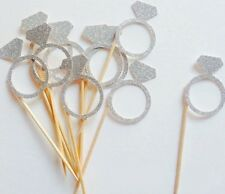 BRIDE TO BE DIAMOND RING GLITTER CUPCAKE TOPPERS HENS | BRIDAL PARTY | SHOWER