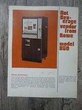 Hot Beverage Vendor Machine Flyer Model 850 Original Rowe Brochure