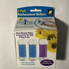 PedEgg 3 Pack Replacement Rollers For Cordless Callus Remover New Sealed Package