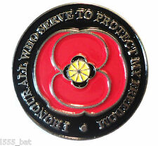 'I Honour All Who Serve To Protect Me' Poppy Armistice Remembrance Day Badge NEW