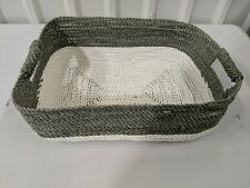 "West Elm Two-Tone Underbed Basket, Gray/White, 19.25""w x 14.25""d x 6""h, Open Box"