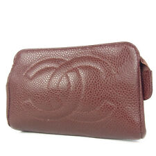 Auth CHANEL CC Logos Caviar Skin Leather Coin Purse Wallet Pouch Brown F/S 824