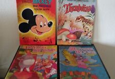 LOT 4 Vintage GIANT COLORING BOOKS Disney MICKEY THUMBELINA Emperor New Clothes