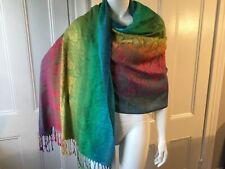J.S. Ondo of Madrid Shawl Scarf Pashmina Rainbow tassels