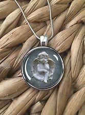Adorable Cherub Angel Baby Statue Glass Pendant Silver Chain Necklace NEW