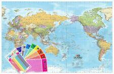 World HEMA Mega (pacific) 2320 X 1460mm Laminated Wall Map With Hang Rails