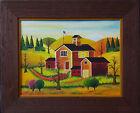 Original Oil Painting Country House Folk Art Jonas Bradford Listed Amish Artist