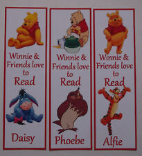 3 CHILDRENS PERSONALISED BOOKMARKS,WINNIE LOVE TO READ.18cm x5cm laminated