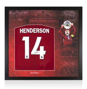 Framed Jordan Henderson Signed Liverpool 2019/20 Shirt - Number 14 - Montage Fra