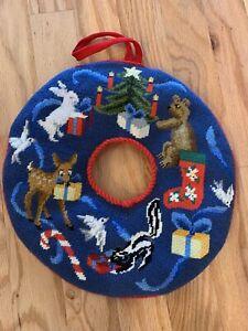 """Vintage Needlepoint Christmas Wreath Animals Tree Deer 15""""dia."""