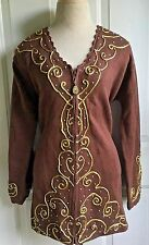 Storybook Knits Cardigan Sweater Medium Zipper Front Brown Gold Pearl NWT New