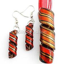 Gold Red Swirl Handmade Lampwork Glass Murano Pendant Necklace Cord Earrings Set