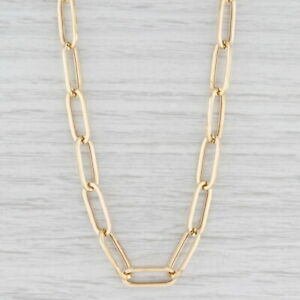 """New Paper Clip Chain Necklace 14k Yellow Gold 21.5"""" 6.5mm Elongated Cable Chain"""