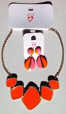 NEW & TAGS U GET BOTH DIVA necklace & earrings ORANGE & PINK FREE POST