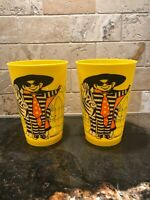 Vintage Two McDonalds 1978 Yellow Plastic Drinking Cups Hamburglar