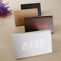 Digital Clock Thermometer Wooden LED Alarm Desk Room Time Decor USB Gift Modern