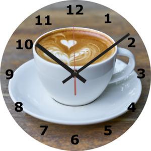 WALL CLOCK COFFEE 25cm Love Kitchen Home Decor Food Drink Cup Mug Cafe diy 283