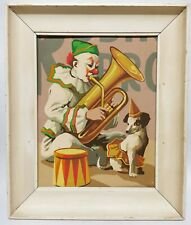 Vintage Paint By Numbers Original Painting Of Clown Playing instrument With Dog